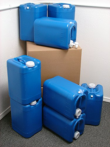 (6 Gallon Oversized Samson Stackers, Blue, 8 Pack (48 Gallons), Emergency Water Storage Kit - New! - Boxed! Includes 1 Spigot and Cap Wrench)