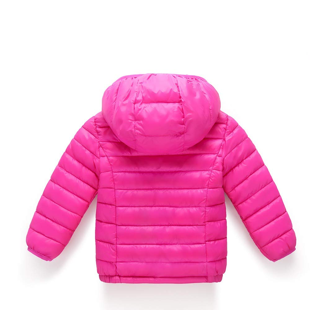 Naladoo Baby Girls Boys Kids Down Jacket Hooded Children Warm Solid Cotton Coat