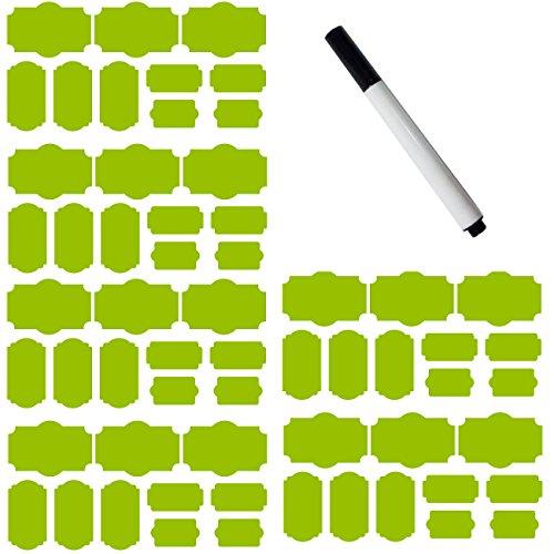 SySrion 60 Fancy Rectangle Chalkboard Sticker Variety Pack with Black Pen - Chalkboard Labels in 4 Sizes --Chalkboard Labels, Reusable Blackboard Stickers, Canning Labels, Chalk Labels, Chalkboard Canning Lid Labels (Light Green)