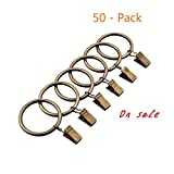 HOMEFUN 50-pack Metal Curtain Rings with Clips (1.5', Bronze)