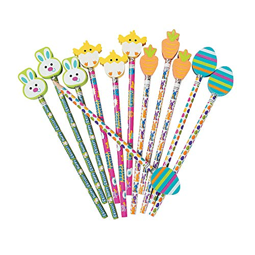 Fun Express - Easter Pencils with Eraser Toppers for Easter - Stationery - Pencils - Pencils - Printed - Easter - 12 Pieces