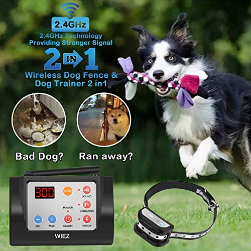 (WIEZ Dog Fence Wireless & Training Collar Outdoor 2-in-1, Electirc Invisible Fence for Dogs with Remote Wireless, Adjustable Range Control, Waterproof Reflective Stripe Collar, Harmless for All Dogs)