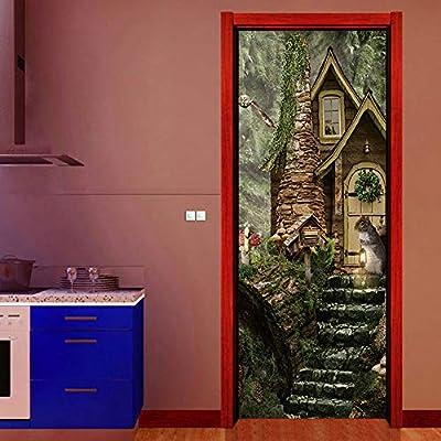 kwpkh Stickers De Porte De Chalet 3D Porte Sticker Mural Chambre Salon Décoration Papel Tapiz 90 * 200 CM: Amazon.es: Hogar