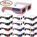 Homder 16 Pack Solar Eclipse Glasses - ISO & CE Certified- Filter - Safe Solar Eclipse Viewing- / w Carry Case / Adult Size / Cool Style and Look