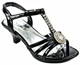 Mirka17 Baby Girls Toddlers Black T-strap Gem Jewel Rhinestone Low Heel Dress Sandal Shoes-8