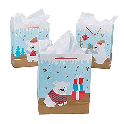 Medium Christmas Polar Bear Gift Bags-12 pack