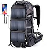 External Frame Hiking Backpack 68L with 20 Watts Solar Charger Panel