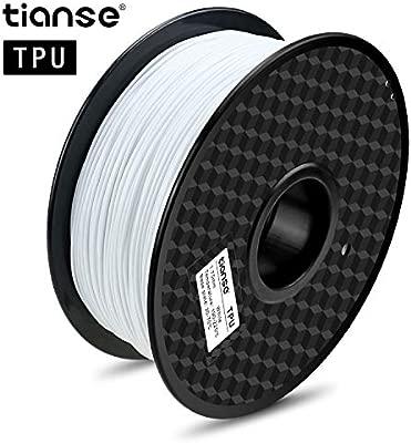 TIANSE Filamento de TPU para la Impresora 3D/Pluma 3D, 1 kg 1,75 mm (Blanco)