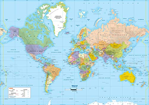 Classroom Intermediate Wall Maps - Gigantic 77 x 54 Inch World Map - Fully Laminated, Classroom Style Map - Intermediate Political Map, Grades 4-6