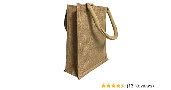 0d893e6b4 Amazon.com: Jute Burlap Tote Bags Bulk - 11 Inch Reusable Eco Friendly  Party Favors Bag with Laminated Interior and Full Gusset for Crafts,  Decorations, ...