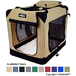 "EliteField 3-Door Folding Soft Dog Crate, Indoor & Outdoor Pet Home, Multiple Sizes and Colors Available (30""L x 21""W x 24""H, Beige)"