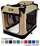 "Image of EliteField 3-Door Folding Soft Dog Crate, Indoor & Outdoor Pet Home, Multiple Sizes and Colors Available (36"" L x 24"" W x 28"" H, Beige)"