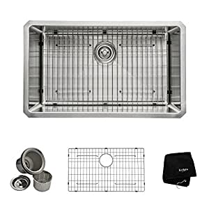 Kraus KHU100-30 30 inch Undermount Single Bowl 16 gauge Stainless Steel Kitchen Sink