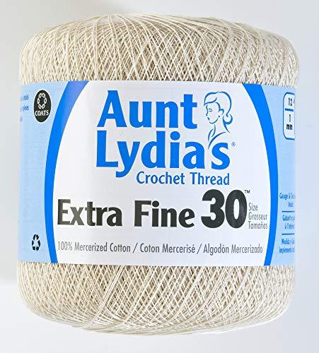Coats Crochet Aunt Lydia's Crochet, Cotton Extra Fine Size 30, Natural ()