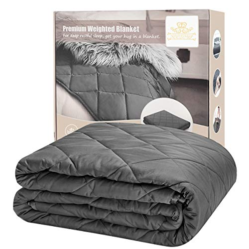 """(FOOZOUP Weighted Blanket 15lbs 48 x 72"""" Premium Heavy Blanket 4.0 – 3 inch Quilted Weighted Throw 100% Cotton Twin/Full/Size for Individuals, Adults Anxiety, Dark Grey)"""
