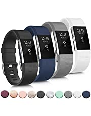 Tobfit Sport Band Compatible with Fitbit Charge 2 Bands, Adjustable Replacement Sport Strap Wristband for Fitbit Charge 2 Smartwatch Heart Rate Fitness Wristband Small Large