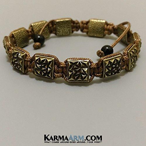 - FlatBead Collection: Textured Antique Gold | Bronze Cord | Adjustable ॐ Yoga Chakra Flat Bead Bracelet