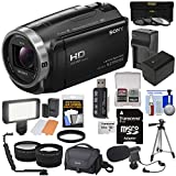 Sony Handycam HDR-CX675 32GB Wi-Fi HD Video Camera Camcorder with 64GB Card + Battery & Charger + Case + Tripod + LED Light + Mic + Tele/Wide Lens Kit
