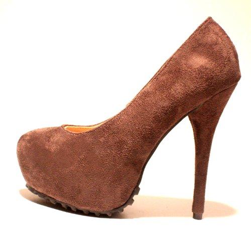 Erogance Velourleder Plateau High Heels - Plataforma de cuero sintético mujer gris - gris