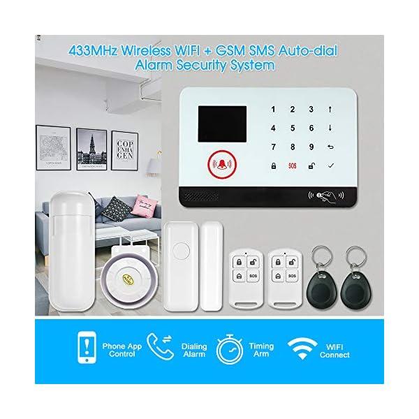 Owsoo Allarme Casa Kit 433MHz Allarme Senza Fili Wireless WIFI + GSM SMS Auto-dial LCD Sistemi di Allarme Domestico di… 2 spesavip