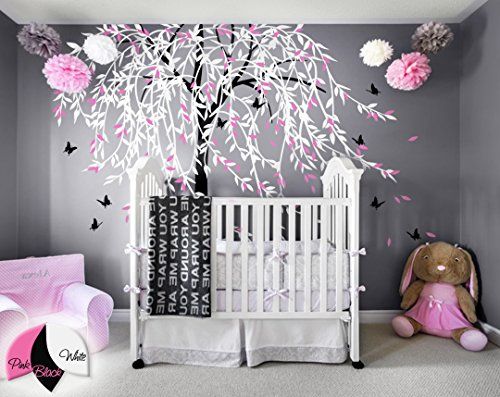 Large willow tree wall decal nursery tree wall sticker murals butterfly wall