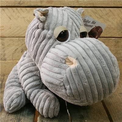 Take Me Home Hippo Door Stop ~ Chunky Cord Ribbed Hippo Doorstop - Grey by Carousel Home
