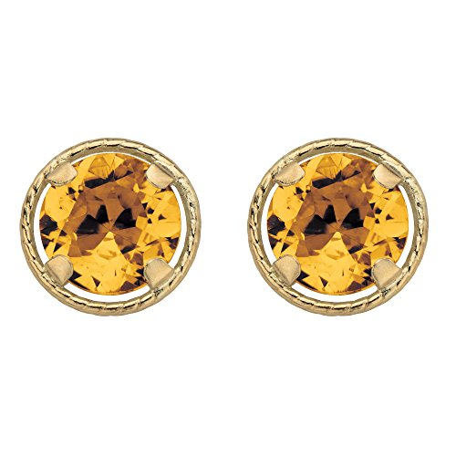 - 10k Yellow Gold Round Genuine Birthstone Halo Stud Earrings