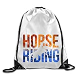 Zhanzy Horse Riding Large Drawstring Sport Backpack Sack Bag Sackpack