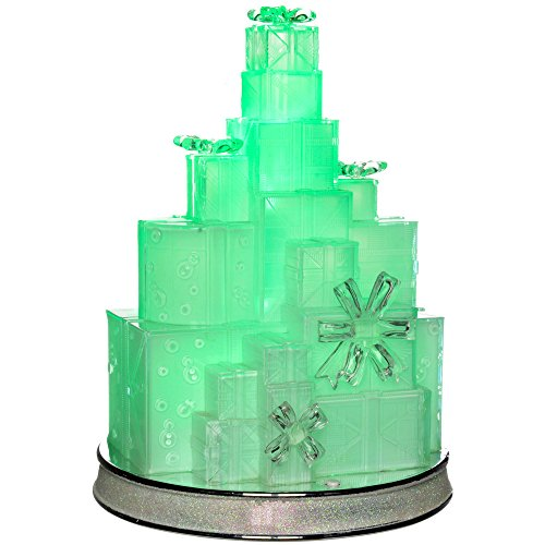 WeRChristmas Pre-Lit Musical Colour Changing Led Christmas Gift Box Tower Scene Decoration, Acrylic, 29 Cm - - Pre Color Led Lit