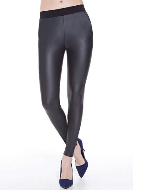 bb3daceb872 Everbellus Stretchy Faux Leather Leggings for Women with Side Pockets Leather  Pants Black Small
