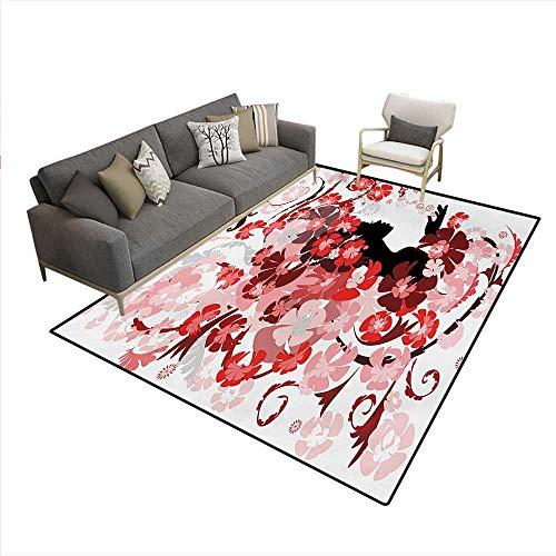 Carpet,Flower Girl Hair Long Swirling Pink Blossoms Hair Dressers Beauty Feminine,Outdoor Rug,Red Pink Black,6'6