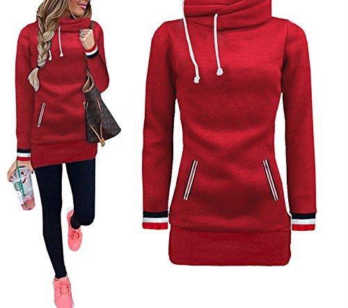 Xuan2Xuan3 Womens Long Sleeve Collar Fleece Casual Pullover Hoodies Sweatshirts Sweater Outerwear Coat Jacket Dress (Red Hoodie Sweatshirt Jacket)