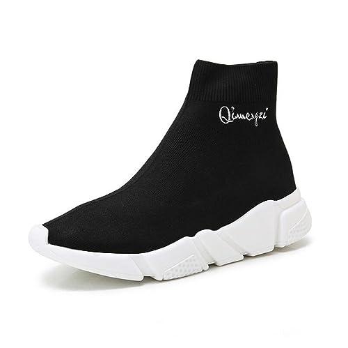 Zapatos De Mujer 2018 Fall New Elástico Calcetines Zapatos, Casual Grueso Bottom High Ayuda Zapatos Planos Ocasionales, Sneakers: Amazon.es: Zapatos y ...