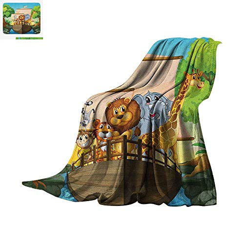 "Zoo Warm Microfiber All Season Blanket Various Different Animals on Floating Boat Forest River Trip Journey Nature Outdoors Summer Quilt Comforter 90""x70"" Multicolor"