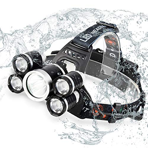 Acsin LED Headlamp Flashlight, Super Bright T6 LED Zoomable 4 Modes 3000Lumens Waterproof Rechargeable Head 90º Swivel Ability Focusing Ring Headlight Outdoor Hiking Camping, 2x18650 Battery Included