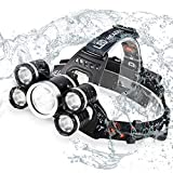 LED Headlamp, Acsin Super Bright 6000 Lumen 4 Modes Rechargeable Waterproof Head Light Flashlight with 18650 Batteries for Outdoor Hiking Camping Hunting Fishing Cycling Running (Black-5LED)