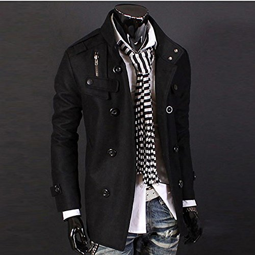 Black Blend Polyester Sleeve Black Fashion Casual Solid Trench Grey Work Blue Long Men's Coat Cotton Brown Lemumu Tz07ww