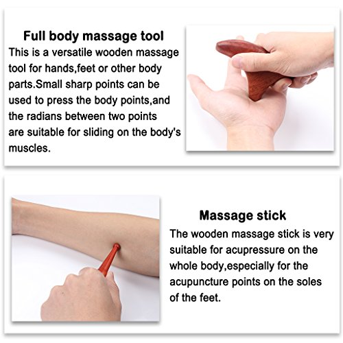 ewinever Professional Full Set of 4 Pcs Reflexology Tool Traditional Thai Massage Hand Foot Face Body Acupoint Massager Natural Red Wood by ewinever (Image #7)