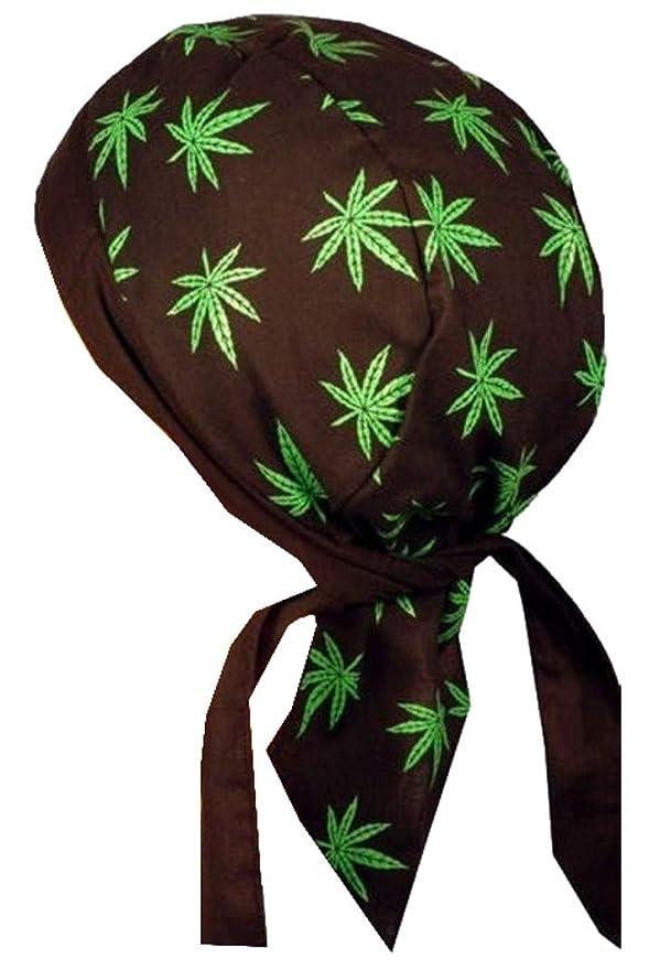 Sparkling EARTH Skull Cap Biker Caps Headwraps Doo Rags - Pot Leaf Headwraps