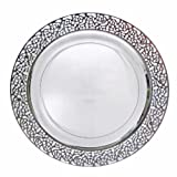 """Decor Elegant Disposable Premium Heavy Weight 10.25"""" Dinner Plates, Inspiration Silver & Clear, 40 Count"""