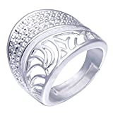 LLNF Wedding Bands Rings For Men Male Sign Wide Hollow Fancy 925 Sterling Silver Engagement Rings,Adjustable Size 4-16