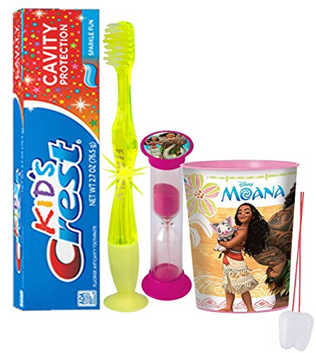 "Price comparison product image Disney Princess ""Moana"" Inspired 4pc Bright Smile Oral Hygiene Set! Flashing Lights Toothbrush, Toothpaste, Brushing Timer & Mouthwash Rise Cup! Plus Bonus ""Remember to Brush"" Visual Aid!"