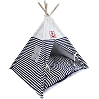 Pet Tent, Dog(Puppy) & Cat House, Pet Teepee & Bed with Cushion, Foldable and Washable, for Little Dogs and Cats, Navy Stripe Style,Blue