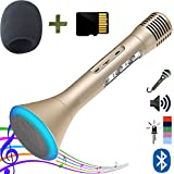 Portable Microphone Wireless Karaoke Singing Machine with Built-in Bluetooth Speaker with SD card loaded with Songs by ZaxSound