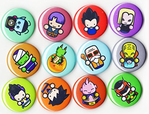 DRAGON BALL Z - DBZ - BUTTON PACK (6 PCS SET) 1 inch Pin Lock - ANIME SERIES GOKU VEGETA MASTER ROSHI