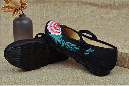 Età Scarpe Scarpe HBDLH Autunno Pechino Piatto Da Donna Fondo Scarpe Antiscivolo black Tallone Morbido Superficiale Di Basso Ricamati Vecchia Bocca Piatte Scarpe In Madre zX4TXqxp