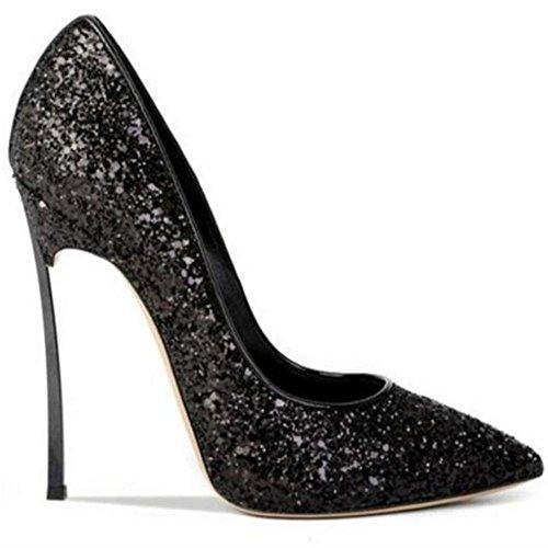 Pied NVXIE EUR36UK5 Fermé Intelligent de Stylet Taille Doigt 43 Haute Chaussures Pointu 35 Robe Sexy Talons Femmes Paillettes BLACK Travail Noir Pompes B4wqB7rx