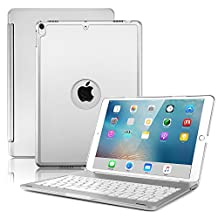 iPad 5 funda con teclado/iPad Air funda con teclado Metal protectora Funda Carcasa rígida Utra Fino, soporte Smart Cover con inalámbrico Bluetooth para iPad Air 2, Plateado, For iPad Air 2