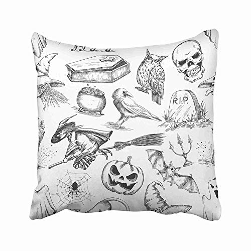 FJPT Throw Pillow Cover Halloween of Doodle Sketch Symbols and Characters for Holiday Celebration Witch Pumpkin Owl Coffin Cotton Pillowslip for Sofa Bed Stand Size Pillowcase 26x26 Inch ()