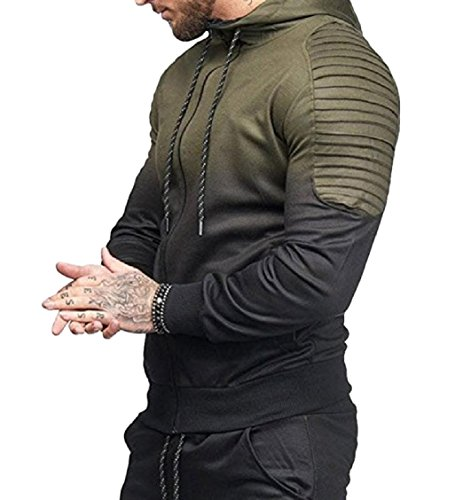 Freely Mens Zip up Workout Gym Long-Sleeve Ombre Pocket Hoodies Sweatshirts Army Green XL